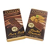 ZOROY Milk Doubles- Set Of 2 Pieces Of Pure Belgian Milk Chocolate And Roasted Almonds Bar
