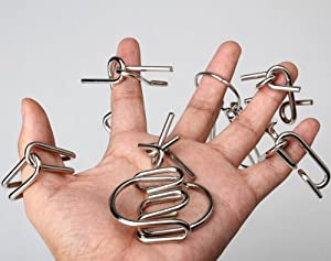 Vktech 7 Sets IQ Test Mind Game Toys Brain Teaser Metal Wire Puzzles Magic Trick Toy