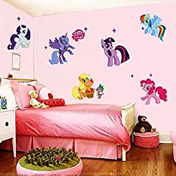 BIGFUNTOYS, My Little Pony Colorful Star Removable Vinyl Wall Wall Stickers Wallpaper Decals Home Decor