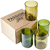 Recycled Wine Bottle Glass Cups, Various Colors - 12 Ounce, Set of 4
