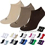 Puma Sports Socks - Unisex Invisible Sneakers 3P -Three Pair Packs Of Plain/Mix Chocolate UK Size 9-11