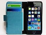 【全6色】 iPhone 5/5S 革/横開き/手帳型/カード収納/スタンド仕様 高級 高品質 ケース/カバー (ライトブルー) 【style gift】