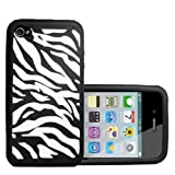 Black And White Zebra Pattern Silicone Gel Case Cover For The Apple iPhone 4 / 4Sby Yousave