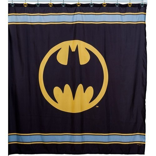Warner Bros Batman Logo Microfiber Shower Curtain