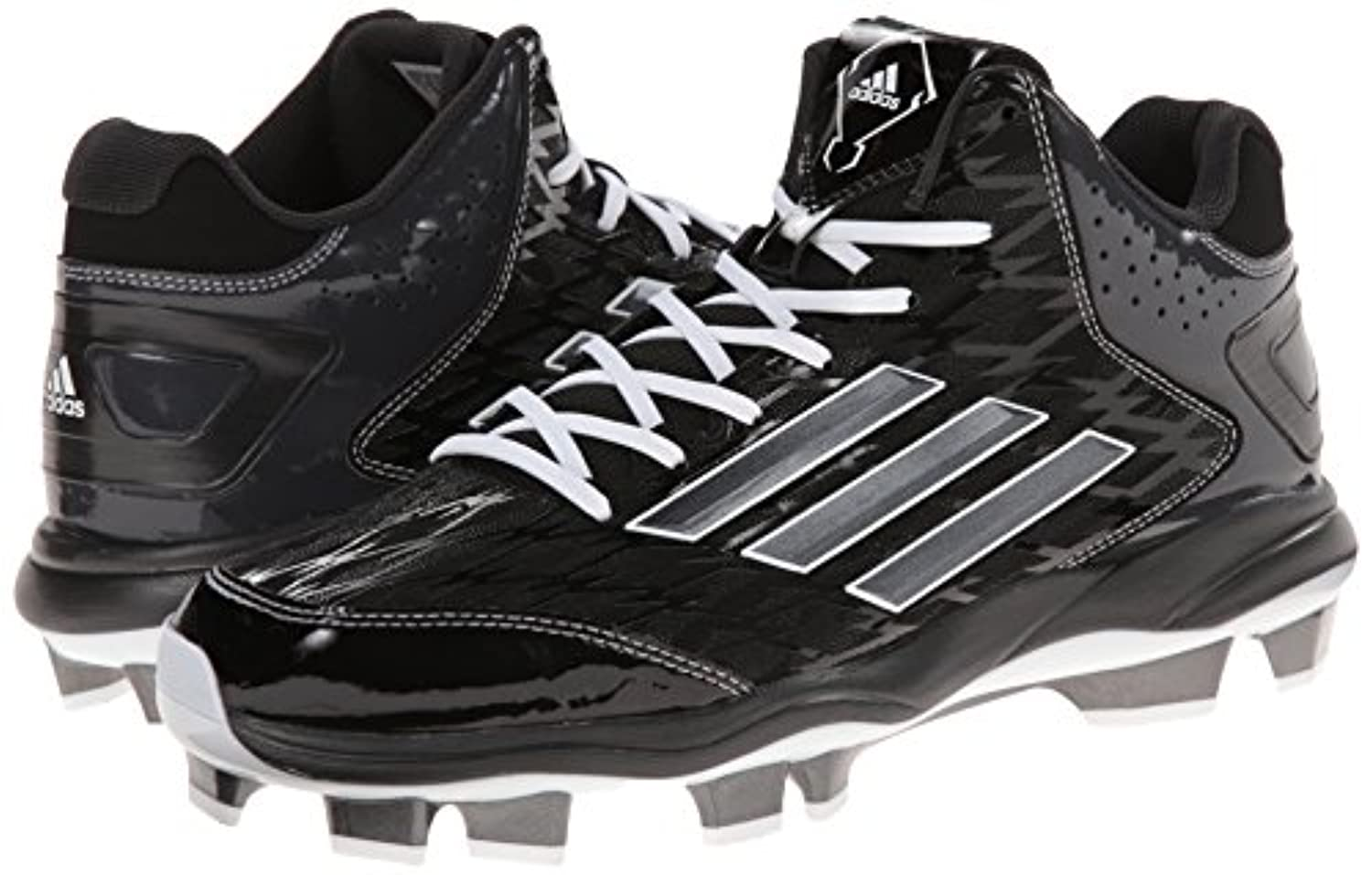 adidas Performance Men's PowerAlley 2 Mid Baseball Cleat, Black/Carbon, 10 M US