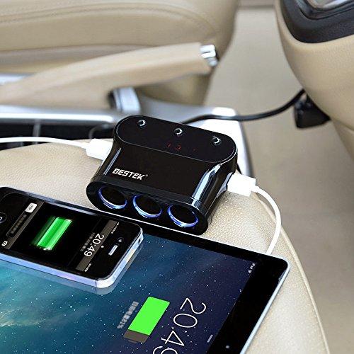 BESTEK シガーソケット usb 充電器 ソケット 3連 USB 2ポート 電圧・電流測定機能搭載 LEDライト付き BTSA12BK