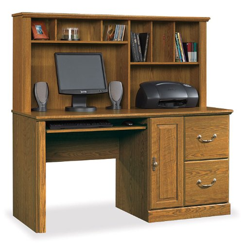 Orchard Hills Computer Desk w/ Hutch (Large)- Carolina Oak
