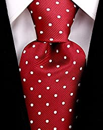Scott Allan Mens Polka Dot Necktie - Burgundy & White
