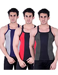 Zimfit Gym Vest - Pack Of 3 (Green_Red_Grey) - B01AO0M184
