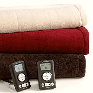 Sunbeam Slumber Rest Microplush Queen Heated Blanket Garnet (Red)