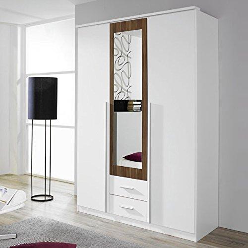 Kleiderschrank weiß / braun 3 Türen B 136 cm kernnuss Schrank Drehtürenschrank Wäscheschrank Spiegelschrank Kinderzimmer Jugendzimmer günstig