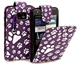 Connect Zone® Purple Cat/Dog Paw Print PU Leather Flip Case Cover For Samsung Galaxy S2 i9100+ Screen Protector + Polishing Cloth & Mini Touch Screen Stylus
