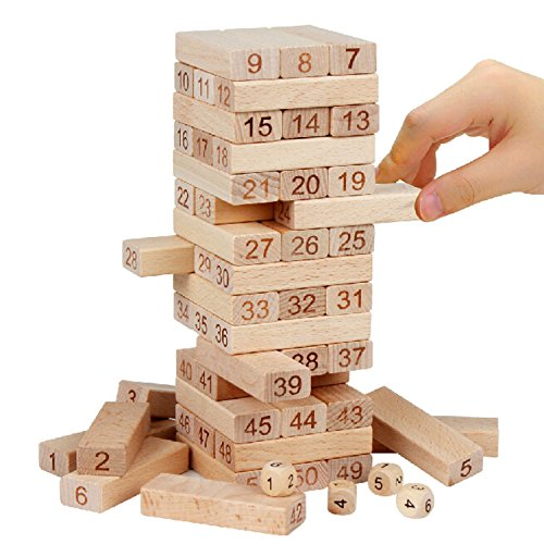 Classic Best Tumbling Towers Family Fun Games for Kids - 54 Pcs Gifts Ideas