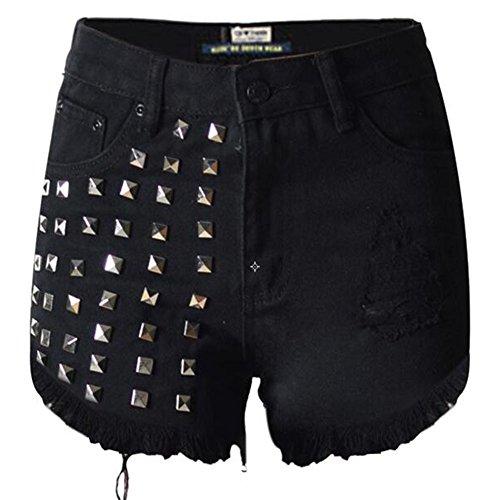 Ashlen Womens Girls Vintage Hole Studded Rivets Denim High Waist Shorts 0