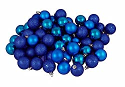 96ct Lavish Blue Shatterproof 4-Finish Christmas Ball Ornaments 1.5&quot; (40mm)