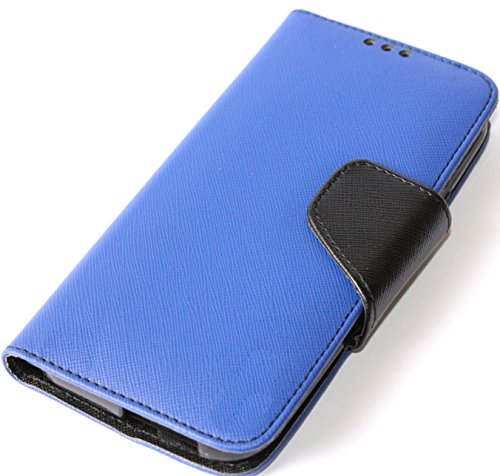 Mylife Blueberry Blue + Black Inside {Classic Magnetic Tab Design} Faux Leather (Card, Cash And Id Holder + Magnetic Closing) Slim Wallet For The All-New Htc One M8 Android Smartphone - Aka, 2Nd Gen Htc One (External Textured Synthetic Leather With Magnet