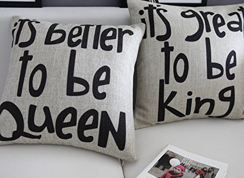 "Ojia 18 X 18"" Cotton Linen Decorative Couple Throw Pillow Cover Cushion Case Couple Pillow Case with Gift Card, Set of 2 - It's Better To Be King / Queen"