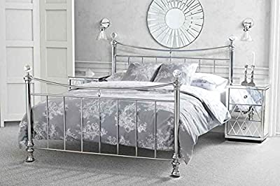 5ft King size Nickel Iron / Metal bed Chrome Plated Crystal finials Modern style - Waterford from My-Furniture