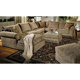 Olive Green Brown Chenille Fabric Westwood Sectional Sofa Couch with Coffee Table Ottoman