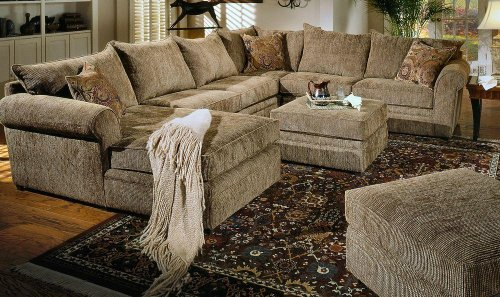 Sectional Sofas Beige Chenille Fabric Westwood