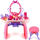 Elegant Dream Dresser Pretend Play Battery Operated Toy Beauty Mirror Vanity Play Set w/ Flashing Lights, Sounds, Accessories