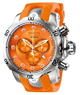 Invicta Men's 1402 Venom Reserve Chronograph Orange Dial Orange Polyurethane Watch