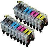16 Multipack de alta capacidad Brother LC1240 , LC1280 Cartuchos Compatibles 4 negro, 4 ciano, 4 magenta, 4 amarillo para Brother DCP-J525W, DCP-J725DW, DCP-J925DW, MFC-J430W, MFC-J5910DW, MFC-J625DW, MFC-J6510DW, MFC-J6710DW, MFC-J6910DW, MFC-J825DW. Cartucho de tinta . LC-1240BK , LC-1240C , LC-1240M , LC-1240Y © 123 Cartucho