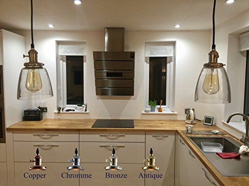 Pendant-Lighting-Glass-Shade-by-Feven-Clear-Ceiling-Lights-Vintage-Light-Fixture-High-Quality-Build-Matches-Any-Decor-Bulb-Included-Hanging-Lamp-Fixtures-for-Kitchen-Loft-Dining-More