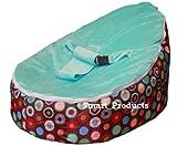 SnuggleRoo Baby Bean Bag Chair FILLED and WATERPROOF lounger (Pink/Blue/Orange) (Blue Bubblegum)