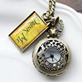 ETSYG® Vintage Drink Me Pocket Watch Necklace Quartz Watch Alice In Wonderland Rabbit
