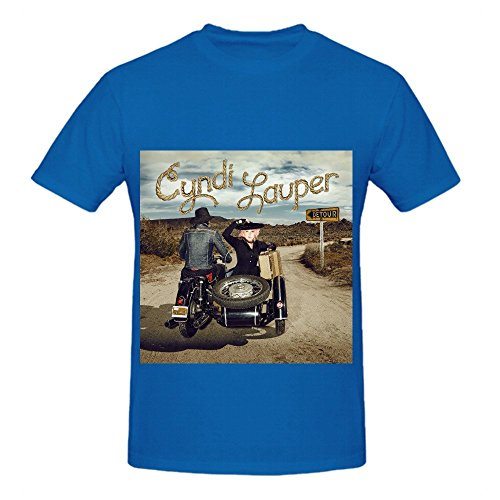 Cyndi Lauper Detour Electronica Men Crew Neck Big Tall T Shirt Blue (Fraggle Harness compare prices)