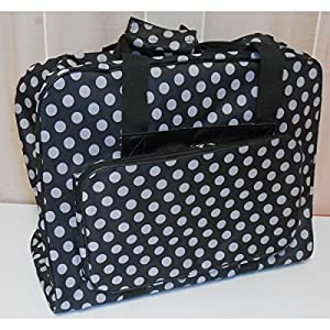 Hemline Dotty Sewing Machine Bag in Black Polka Dot from hemline