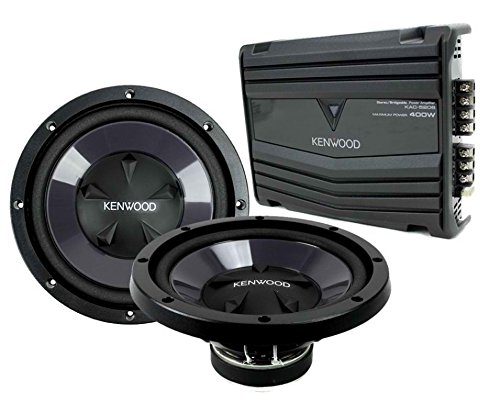"New Car Audio Set Of 2 Kenwood Kfc-W110S 10"" Subwoofer & Kac-5206 2Ch Amplifier"