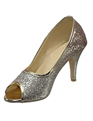 Belson Faux Leather Gold Party Wear Stiletto For Women