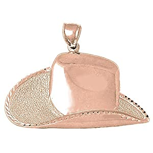 PendantObsession's 14K Rose Gold 35mm Large Cowboy Hat Charm Pendant from Jewels Obsession