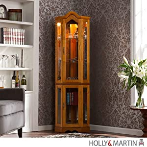 holly martin riley lighted corner curio. Black Bedroom Furniture Sets. Home Design Ideas