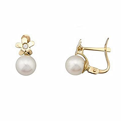 18k gold cultured pearl earrings 6.5mm. flower cubic zirconia [6714P]