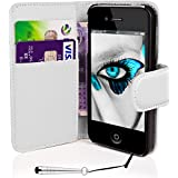 Mobile-Heaven Apple iPhone 4 4S Premium White PU Leather Flip Wallet Case Cover Pouch Includes Screen Protector And Stylus Pen