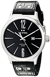 TW Steel Slim Line Unisex Quartz Watch with Black Dial Analogue Display and Black Leather Strap TW1300