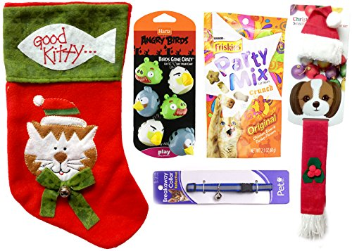 Christmas Costume, Stocking, Collar and Snacks Bundle for Cats (10 Pieces)