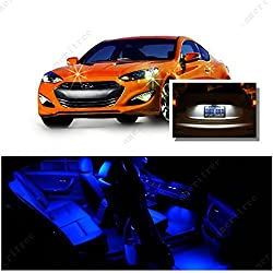 See Ameritree Blue LED Lights Interior Package + White LED License Plate Kit for Hyundai Genesis Coupe 2009-2013 (7Pcs) Details