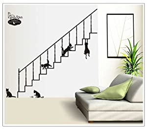 OneHouse Black Stairs and Cats Wall Stickers for Living Room Sitting Room Wall Decor from OneHouse