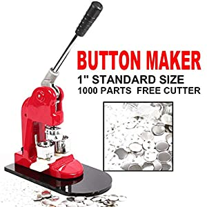 GOTOTOP Button Badge Maker Machine, 32mm Button Badge Maker Punch Press Machine with 1000 Pcs Pin-Back Button Parts and Circle Cutter