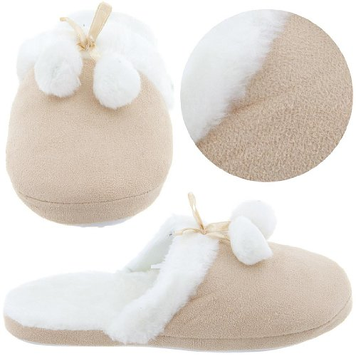 Cheap Beige Slippers with White Faux Fur Trim for Women (B004Z241XG)