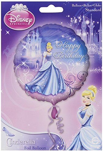 "Anagram International Cinderella Happy Birthday Foil Balloon Pack, 18"", Multicolor"