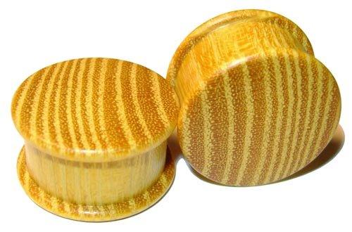 44mm Organic Striped Osage Orange Double Top Hat Exotic Wood Plugs