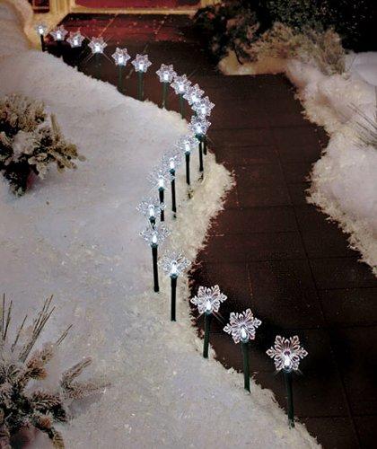 20-Pc. Solar Snowflake Path Light Set, Solar Powered