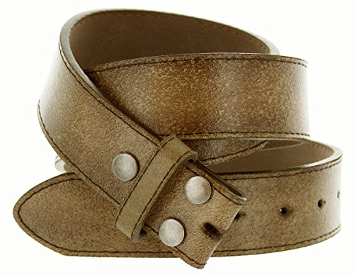 "Womens Vintage Look Distressed Leather Strap Belt Snap On (S(30""-32""), Brown)"