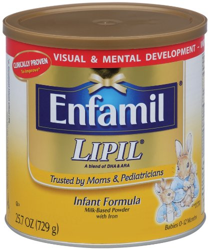 Enfamil Lipil Milk-Based Formula with Iron, Powder, 25.7-Ounce Cans (Pack of 6)