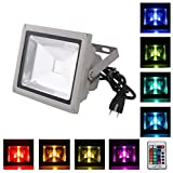 LOFTEK® 20W Waterproof Outdoor Security LED Flood Light Spotlight High Powered RGB Color Change(16 Different Color Tones) with Plug and Remote Con